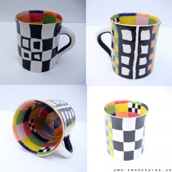 large, colorful teacup